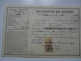 VIEUX PAPIERS - QUITTANCE DE LOYER - Mme LOUVIOT Locataire - Rue Des Chantiers- Octobre 1930 - Versailles - 1900 – 1949