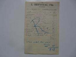 VIEUX PAPIERS - FACTURE : E. BRIFOTEAU Fils - Rue Dangeau - VERSAILLES - 1900 – 1949