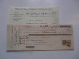 VIEUX PAPIERS - FACTURE ET TRAITE : Tapis Et Tapisseries D'AUBUSSON - H. GAUTIER & Cie - FELLETIN (Creuse) - 1900 – 1949