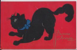 Cpa Fantaisie Bonne Année Chat Noir à Ruban Bleu Sur Fond Rouge - Chats
