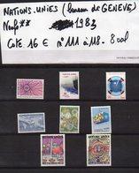 ONU--NATIONS-UNIES--bureau De Genève--année 1983  Complète -NEUFS ** N°96 à 110 --cote 16€.......à Saisir - UNO