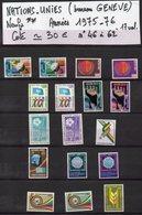 ONU--NATIONS-UNIES--bureau De Genève--années 1975-76  Complètes-NEUFS ** N°46 à 62 --cote 30€.......à Saisir - UNO