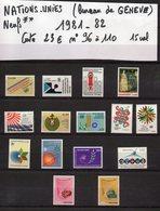 ONU--NATIONS-UNIES--bureau De Genève--années 1981-82  Complètes-NEUFS ** N°96 à 110 --cote 23€.......à Saisir - UNO