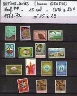 ONU--NATIONS-UNIES--bureau De Genève--années 1971-72 Complètes-NEUFS ** N°15 à 29 --cote 23€.......à Saisir - UNO