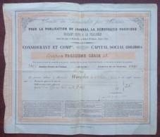 """Journal """"La Démocratie Pacifique"""" Faisant Suite à """"La Phalange"""" . Rare Action De 25 F De 1845 . Presse . - Actions & Titres"""