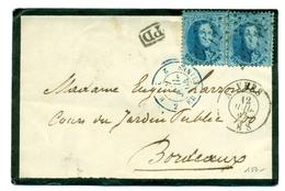 Belgique - COB 15 X 2 Sur Lettre D'Anvers Vers Bordeaux 12 Juillet 1864 - 1863-1864 Medaillen (13/16)