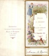 MENU 17 SEPTEMBRE 1911 IMP LEROU  BARBARA PATISSIER RESTAURATEUR RUE MIGNON A CHAMPIGNY - Menükarten