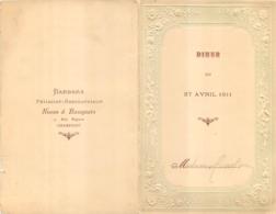 MENU 27 AVRIL  1911 IMP LEROU  BARBARA PATISSIER RESTAURATEUR RUE MIGNON A CHAMPIGNY - Menükarten