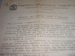 COMUNICATI DEL MINISTERO STAMPA E PROPAGANDA PARTITO NAZIONALE FASCISTA TORINO 1935 - Documents Historiques