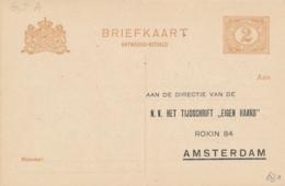 Nederland - 1918 - 2 Cent Cijfer, AntwoordBriefkaart G89 I-A - Particulier Bedrukt Tijdschrift Eigen Haard - Ongebruikt - Entiers Postaux