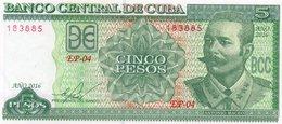 CUBA 5 PESOS 2016  P-116p  UNC - Cuba