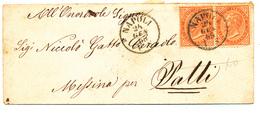 1865 DA NAPOLI A A PATTI VIA MESSINA COPPIA 0,10 DE LA RUE - Storia Postale