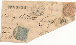 1863 DE LA RUE NEL PRIMO MESE D'USO DUE BEI FRAMMENTI 0,30 E 0,15+0,10 - 1861-78 Victor Emmanuel II