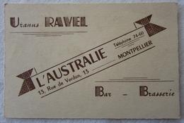 Ancienne Carte De Visite Commerciale Montpellier 34 Bar Brasserie L'Australie - Uranus Ravel ~1930 - Cartes De Visite