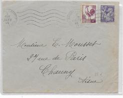JANVIER 1945 - COQ D'ALGER + IRIS Sur ENVELOPPE De MAISONS LAFFITTE => CHAUNY - 1921-1960: Période Moderne