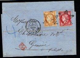 A1-N°38+ 57 Lettre Pour La Suisse - 1849-1876: Période Classique