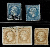 A1- N°21 (*) Déf. + N°22 Timbre Trop Long Et Trop Court + N°21 Et N°28 Sur Même Fragt Pas Courant. - 1862 Napoléon III