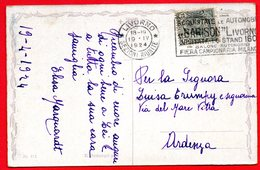 1924  LIVORNO - RARA TIMBRO A TARGHETTA AUTOMOBILI BARISON - Poststempel