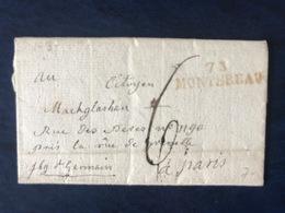 France, Griffe 73 MONTEREAU (rouge) Sur Lettre (LAC) 1797 - (B3115) - Marcophilie (Lettres)