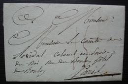 1815 Lettre Drôle Du Capitaine Barthou Au Comte Delherm De Novital, Où Il Parle De Sa Colique ! - 1801-1848: Vorläufer XIX