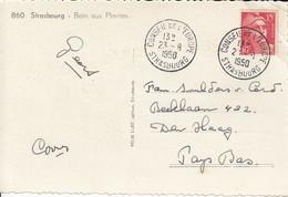 CP Affr Y&T 813 Obl CONSEIL DE L'EUROPE STRASBOURG Du 23.8.1950 Adressée à Den Haag - Poststempel (Briefe)