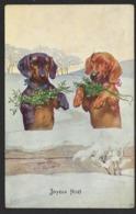 Teckel - Dashond - Daschond - Tekkel - Basset - Dog - Joyeux Noel - 1911 - Chiens