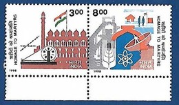 INDIA 1998 MNH HOMAGE TO MARTYRS ON GOLDEN JUBILEE, FREEDOM STRUGGLE, MILITARIA, FLAG, PHYSICS SYMBOL - Unused Stamps