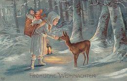 Mädchen Mit Spielsachen Füttert Reh - Prägelitho       (A-191-191022) - Weihnachten
