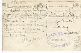 Guerre 39 40 CHARTRES Eure Et Loir Cachet Violet Ovale HOPITAL MIXTE DE CHARTRES SALLES MILITAIRES 1945 - Guerre De 1939-45