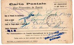 CARTE DE PRISONNIER GUERRE 1914 18   -  FRANCHISE DE TAXE 1916  ASNIERES - Marcophilie (Lettres)