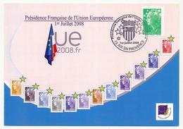 """FRANCE => Carte Commémo Présidence Française De L'Union Européenne"""" AIX EN PROVENCE 1/7/2008 Beaujard - 2008-13 Marianne De Beaujard"""