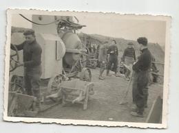 Photographie Chasseur Alpin Et Travaux Chantier Bétonneuse Photo 6x8,5 Cm - War, Military