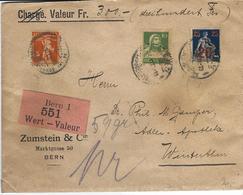 151-153, émission Provisoire, Fils De Tell, Buste De Tell, Obl. Bern 5.XI.21, Vignette Valeur, Raison Sociale Zumstein - Suisse