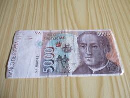 Espagne - Billet 5000 Pesetas Christophe Colomb 12/10/1992. - Autres