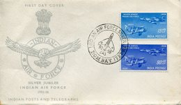 INDIA - INDE , 1958, FDC, Silver Jubilee Indian Air Force, Airplane, Set 2 V, Airforce, Aeroplane, Air, Bombay Cancellat - FDC