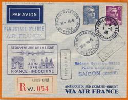 J62 - Marcophilie - Enveloppe Par Avion - Paris Vers Saigon - Indochine - 1946 - Retour à L'envoyeur - Inconnu - Luchtpost