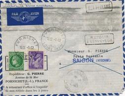 J62 - Marcophilie - Enveloppe Par Avion - Pornichet Vers Saigon - Indochine - 1945 - Retour à L'envoyeur - Non Réclamé - Air Post