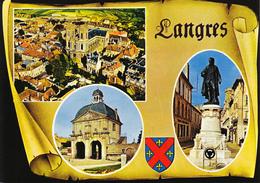 52 LANGRES  -  3 VUES  SUR PARCHEMIN - BLASON - Langres