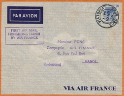 J62 - Marcophilie - Enveloppe Par Avion - Hong-Kong Vers Hanoï - Hong-Kong Vers Indochine - 1939 - Air Post