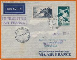 J62 - Marcophilie - Enveloppe Par Avion - Paris Vers Shanghaï - France Vers Indochine - 1947 - Air Post