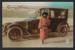 Femme Avec Ancien Voiture - Woman With Old Car - Vrouw Me Oude Auto - 1922 - Carte Fantaisie - Fantasiekaart - Voitures De Tourisme