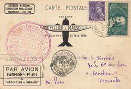 J62 - Marcophilie - Carte Postale Par Avion - Montpellier Vers Marseille - Par Avion Farman - 30 Mai 1939 - Air Post