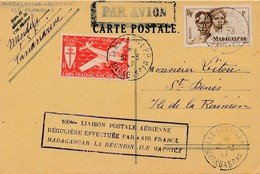 J62 - Marcophilie - Carte Postale Par Avion - Madagascar Vers Ile De La Réunion - Air Post