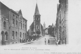 Souvenir De Thuin. Rue De Moustier Et Tannerie A.ET. Fauconnier Frères.  . Scan - Thuin