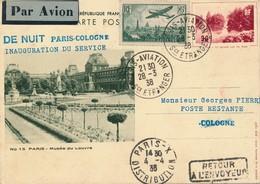 J62 - Marcophilie - Carte Postale Par Avion - Paris Vers Cologne - France Vers Allemagne - 1938 - Air Post