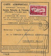 J62 - Marcophilie - Carte Aéropostale - Paris-Casablanca - France-Maroc - Journée Nationale De L'Aviation 8-9 Juin 1930 - Air Post