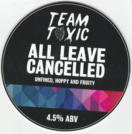 TEAM TOXIC BREWERY   (LIVERPOOL, ENGLAND) - ALL LEAVE CANCELLED - PUMP CLIP FRONT - Letreros