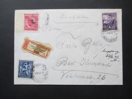 Böhmen Und Mähren 1943 Geburtstag Wagner Nr. 128-130 Satzbrief Einschreiben Haupttelegraphenamt Prag Burgkaserne - Briefe U. Dokumente