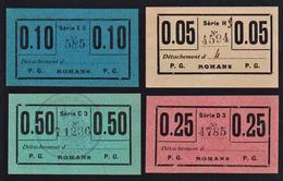 PRISONNIERS DE GUERRE à Romans (Dpt 26) Guerre 1914/18: RARE Lot De 4 Billets Papier Carton à...... - Bons & Nécessité