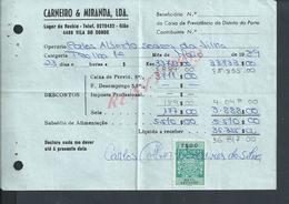 DOCUMENT COMMERCIAL 1989 DE CARNEIRO & MIRANDA GIAO VILA DO CONDE SUR TIMBRES FISCAUX DU PORTUGAL : - Fiscaux